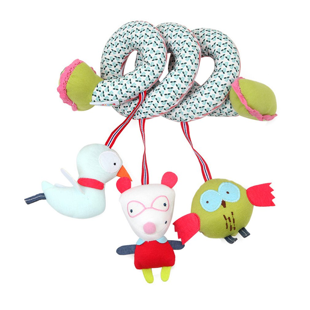 Cute Animals Spiral Wrap Toys Multifunctional Bed Hanging Toys Cartoon Stroller Rail Toy For Baby Boys Girls