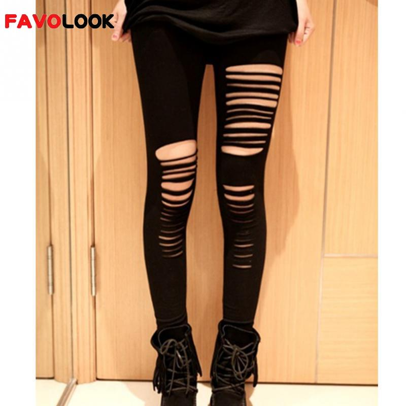 2018 Women Lady Punk Hole Ripped Slit Split   Leggings   Party Gothic Pants Hot Selling