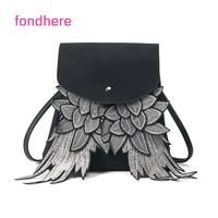 New Women Backpack Wing Backpack Punk Stylish School Bag For Girls Black Grey Bag Angel Wings