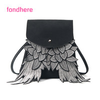 New Women Backpack Wing Backpack Punk Stylish School Bag For Girls Black Grey Bag Angel Wings