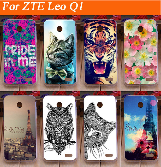 Fashion hot DIY paintinh colored flowers tiger lion Eiffel Tower design hard plastic case for ZTE leo Q1 Shell Back Cover Case