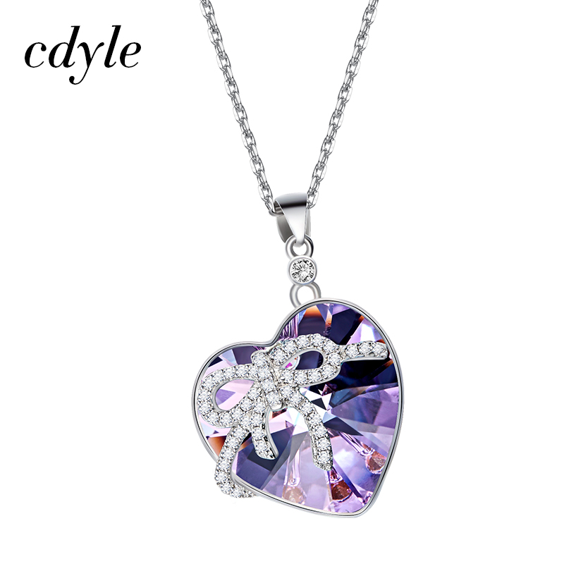 Cdyle Crystals From Swarovski Pendants Women Necklaces Heart Shaped Blue Purple Romantic Anniversary Accessories Engagement Chic