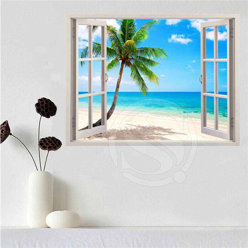 Custom canvas poster Beach of the Caribbean in the window poster cloth fabric wall poster print Silk Fabric Print SQ0611-LQ011 image