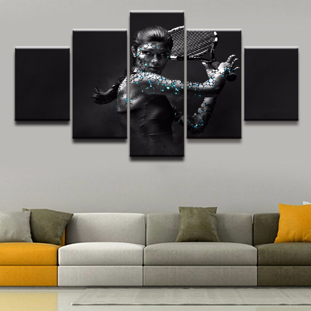 Canvas Printed 5 Pieces Sports Tennis Wall Art Home Decor For Living Room Painting Pictures Artistic Poster Artwork Wall Decor