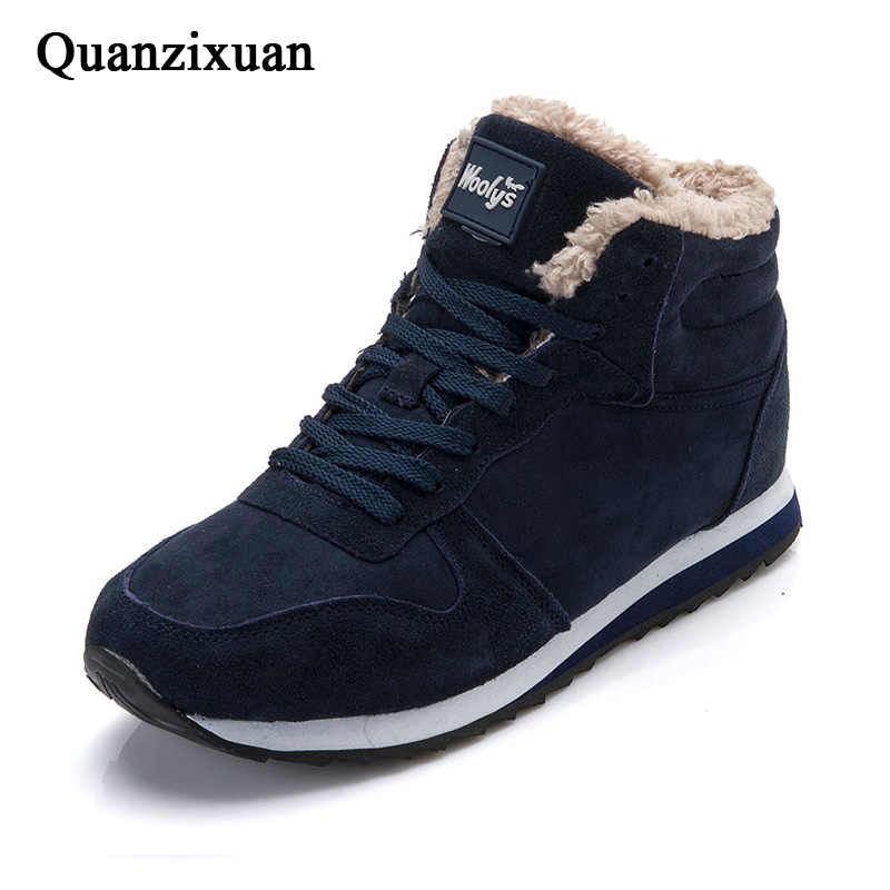 冬の男の靴スエード男性のアンクルブーツ男性の雪のブーツと毛皮保温男性の靴アップカジュアルシューズ