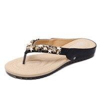 New 2018 Women Sandals High Quality Fashion Crystal Gladiator Women Flip Flops Comfortable Bohemian Women Flat