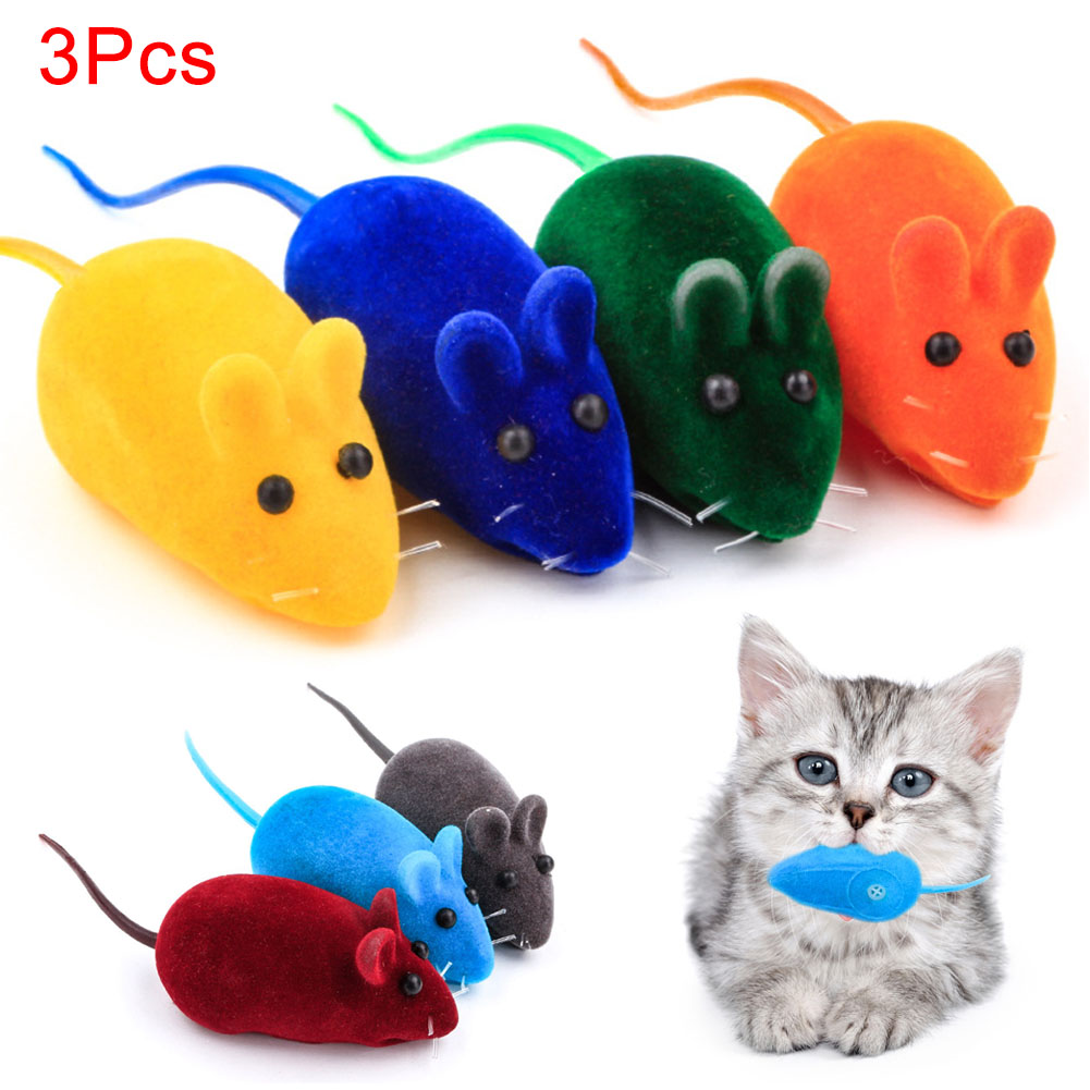 3Pcs New Lovely Funny Mouse Rat Squeak Noise Sound Pet Cat Kitten Dog Playing Toy Hogard 2018 MA2918