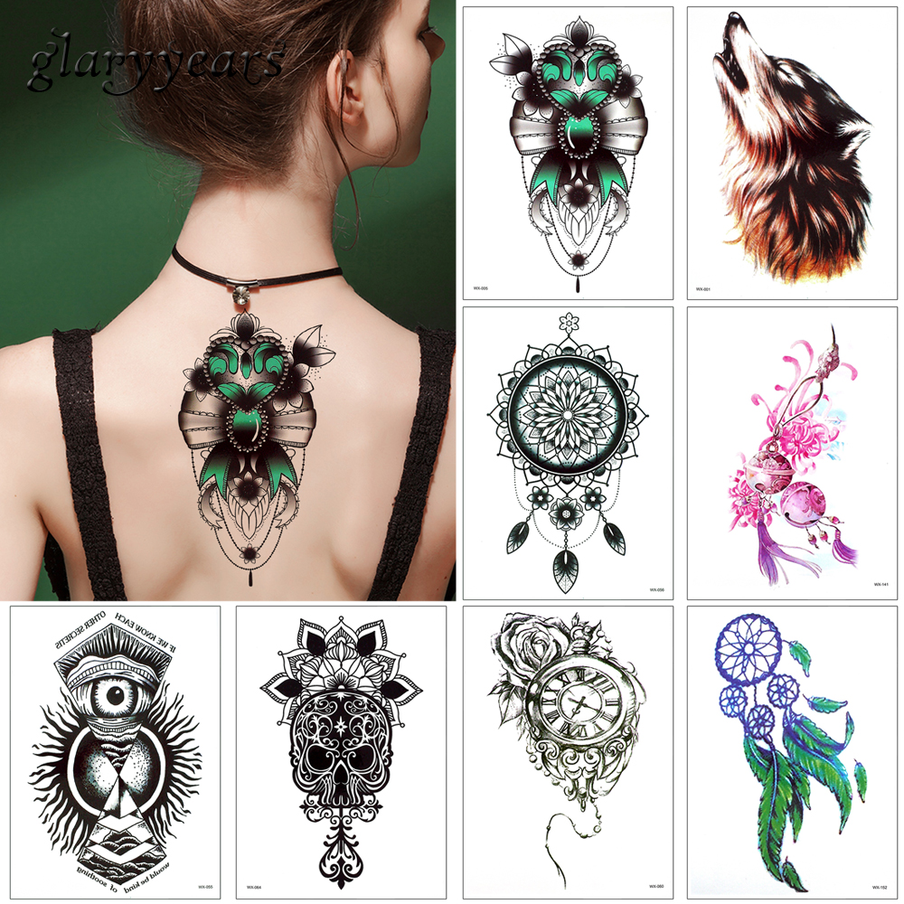 Glaryyears 17 Designs 1 Sheet WX Temporary Tattoo Sticker For Women Men Body Arm Back Chest Art Decal Wolf Flower Pattern Simple