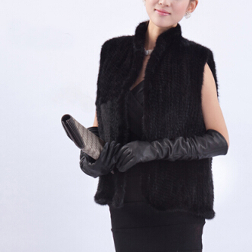 Chaude Réel Black Tricoté Court Fp808 Gilet brown Vente Manches Fourrure Nouveau De Sans 2018 Usine Vison Femmes ZOx5wSEnqf