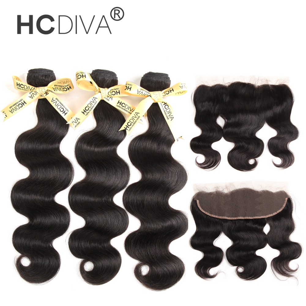 13x4 Lace Frontal Closure With Bundles Brazilian Body Wave Human Hair Bundles With Lace Closure Non