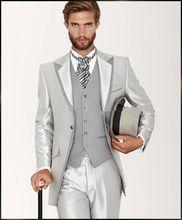 3PCS Silver Men Suits Groom Tuxedos Wedding Formal 38 40 42 44 46+ Custom