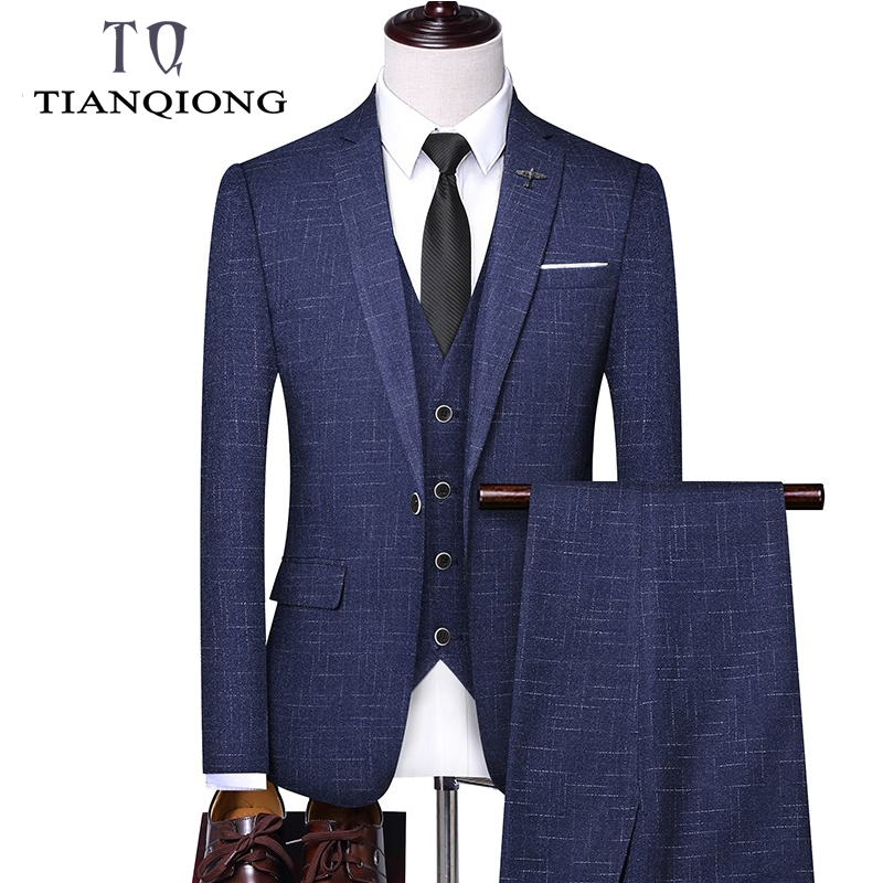 TIAN QIONG Brand Three Piece Suits Men Latest Fashion Suits For Men Slim Fit Man Wedding Suit Blue Black Jacket Pants Vest