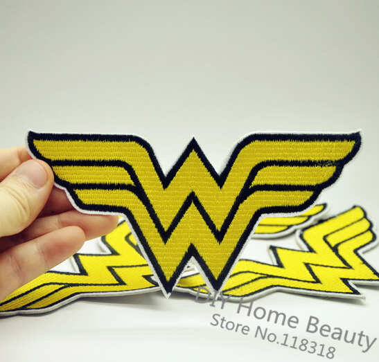 1 PCS Wonder Woman Sign Embroidered Iron on Patches for Clothing DIY Apparel Accessories Garment Stickers Badge 14*7.1 CM @OO3