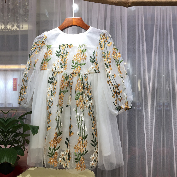 Retail Spring Floral Embroidery Long Sleeve Princess Party Girls Dress A-line Tutu Kids Dresses For Girls Baby Girl Clothes 5360 floral school long sleeve princess girls
