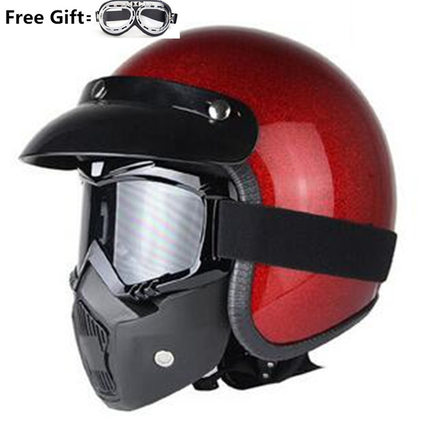 New Retro Vintage Motorcycle Helmet Motorbike 3/4 Open Face Half Helmet Cruiser Touring Chopper Biker Cafe Racer Moto Helmet DOT