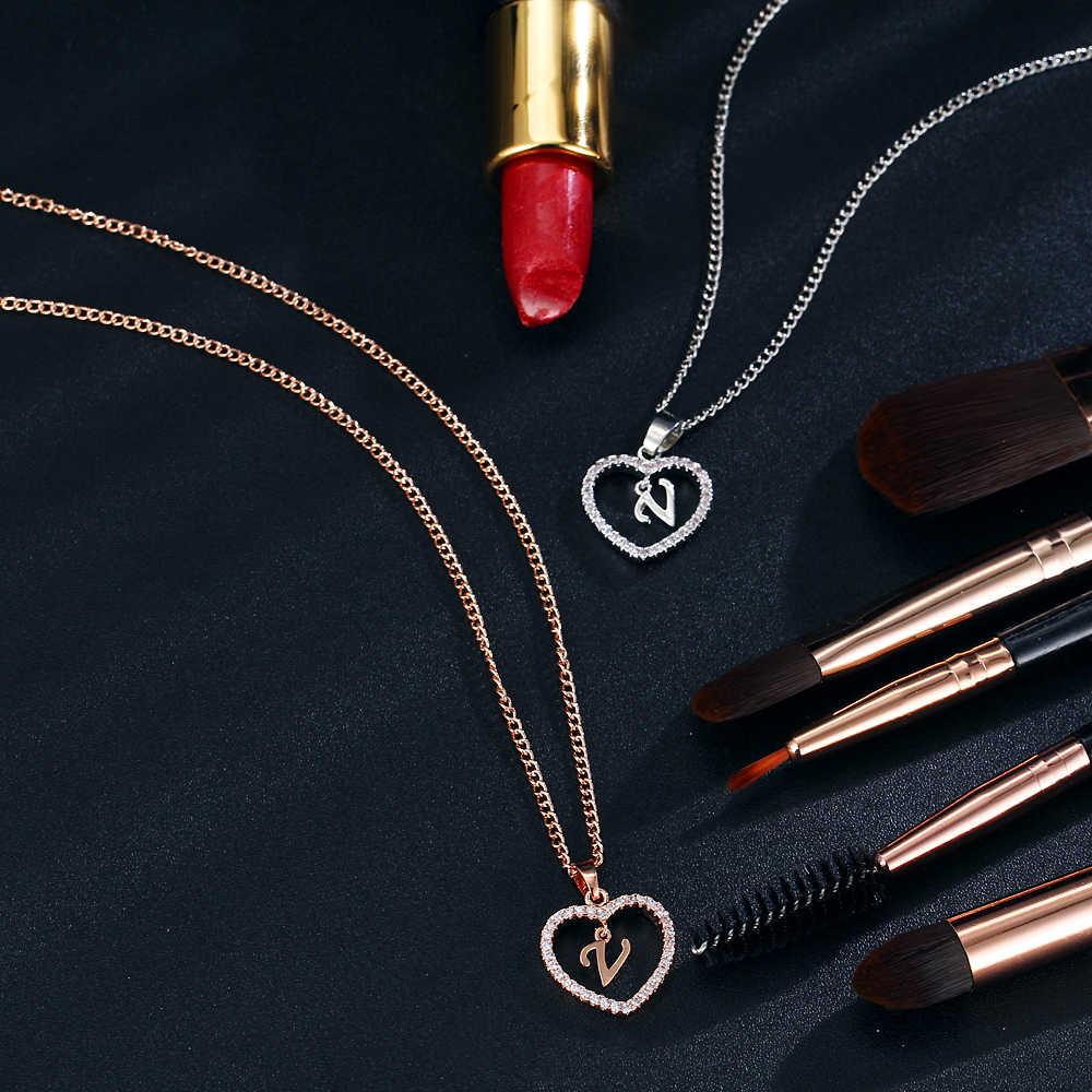 17 km a z 26 nome da letra colares & pingente para mulheres menina moda longa corrente coração colares cúbicos zircônia diy jóias presente