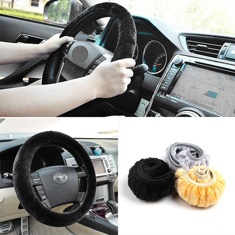 Car Steering Wheel Cover Case Plush Super Soft Warm Comfortable Anti-slip Whee Sleeve Reusable 38cm diameter Interior Accessory