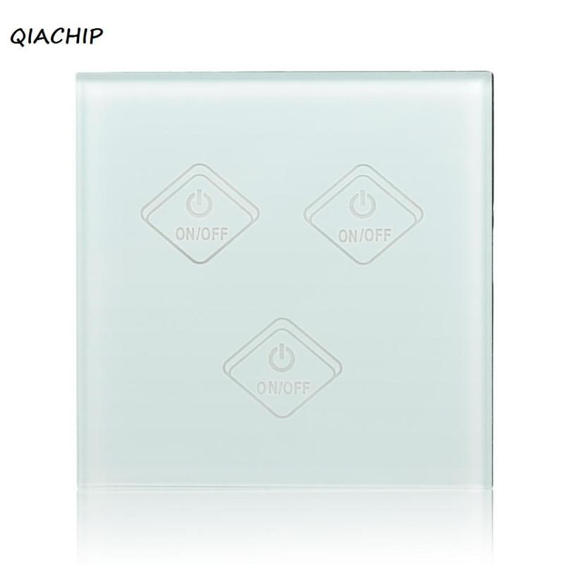 QIACHIP Wifi Smart Switch UK Glass Panel 3 Gang Wireless Smart Home APP/Touch Control Wall Light Switch Work With Amazon Alexa 3 smart home us black 1 gang touch switch screen wireless remote control wall light touch switch control with crystal glass panel
