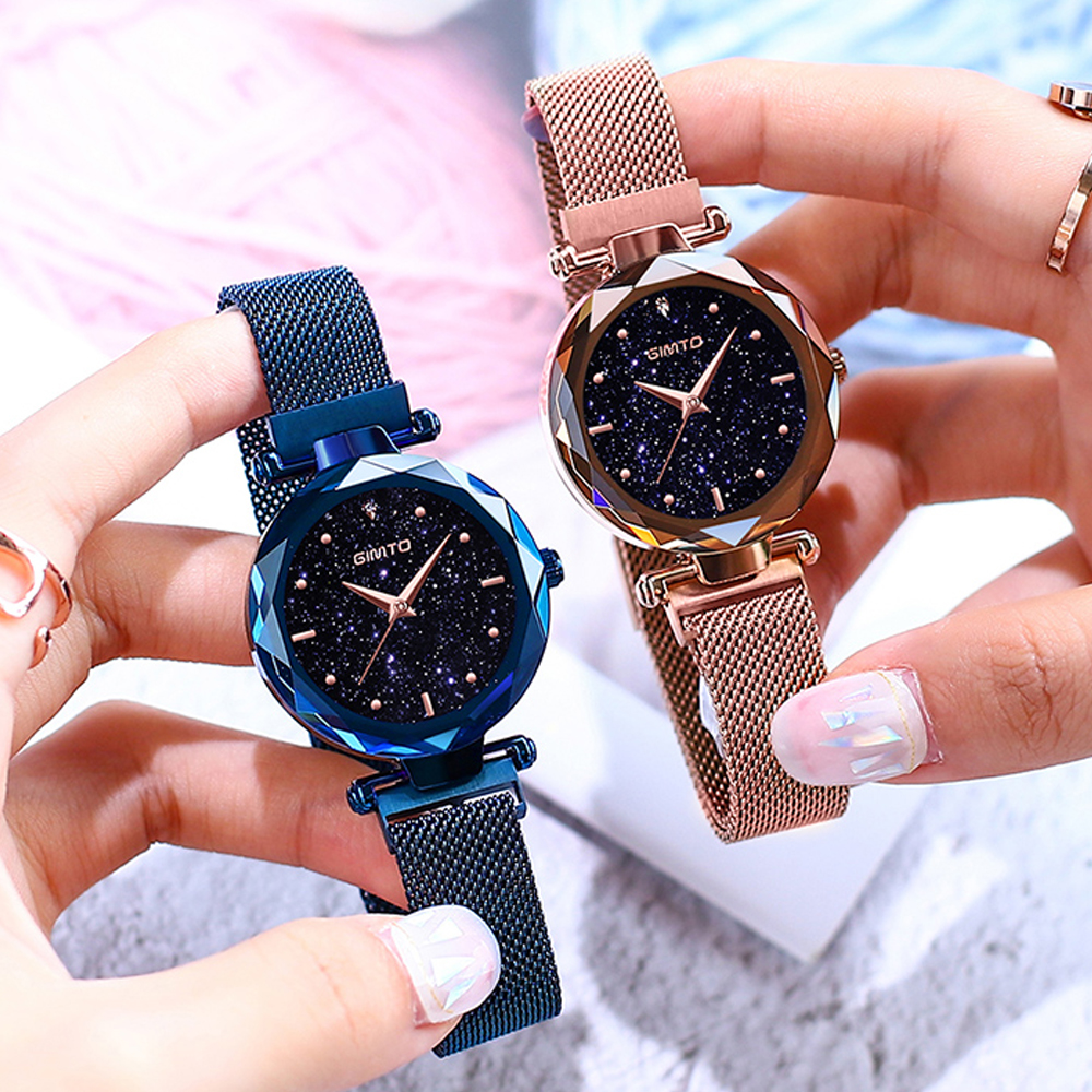 Magnet Buckle Luxury Women Watches Crystal Rose Gold Quartz Ladies Watch Stainless Steel Dress Female Clock relogio feminino цена