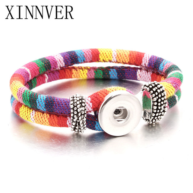 10 colors New PU Leather Charm Camouflage Bracelets Fit 18-20mm Snaps Snap Butto