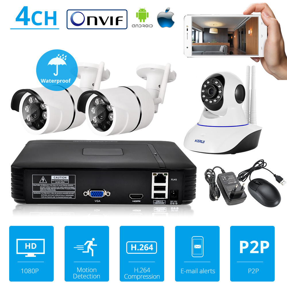 KERUI NVR Full HD 4 Channel Surveillance System CCTV ONVIF Network P2P Video Recorder with Home Security WiFi IP Camera