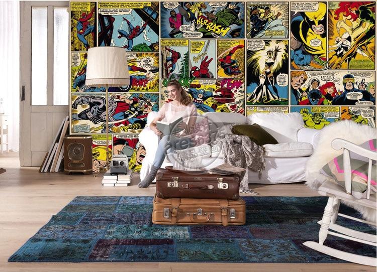 ... Marvel Comics Wallpaper Custom 3D Wall Murals Captain America Photo  Wallpaper Kids Boys Bedroom Office Shop ... Part 86
