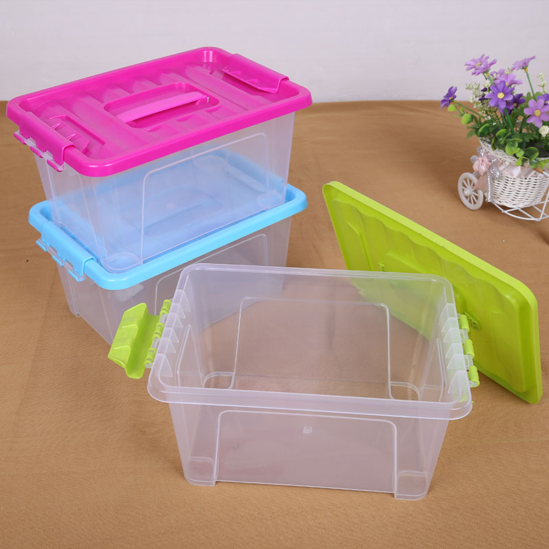 Portable 1 Grid 12L Large Debris Plastic Transparent Storage Boxes Eco-Friendly Toys Food Box Tools Candy Office Organizer Bins
