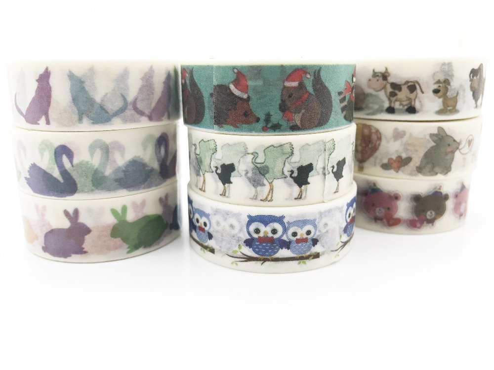 jiataihe washi tape Lion animal bird fox deer crocodile Cow penguin parrot turkey rabbit chicken horse god free shipping
