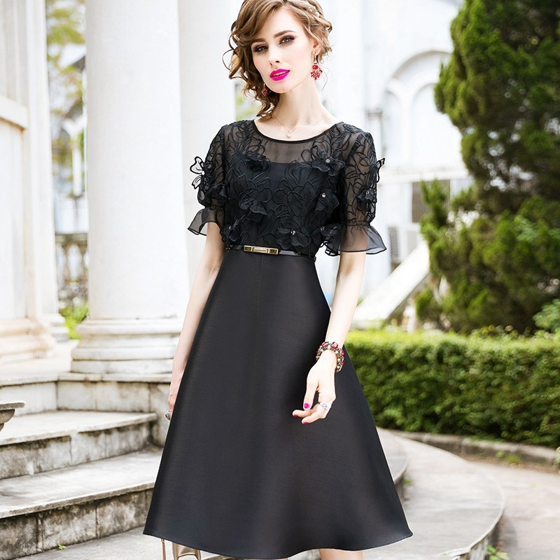High street ladies dresses A Line 2019 new spring Women Office Slim dress Plus Size Clothing