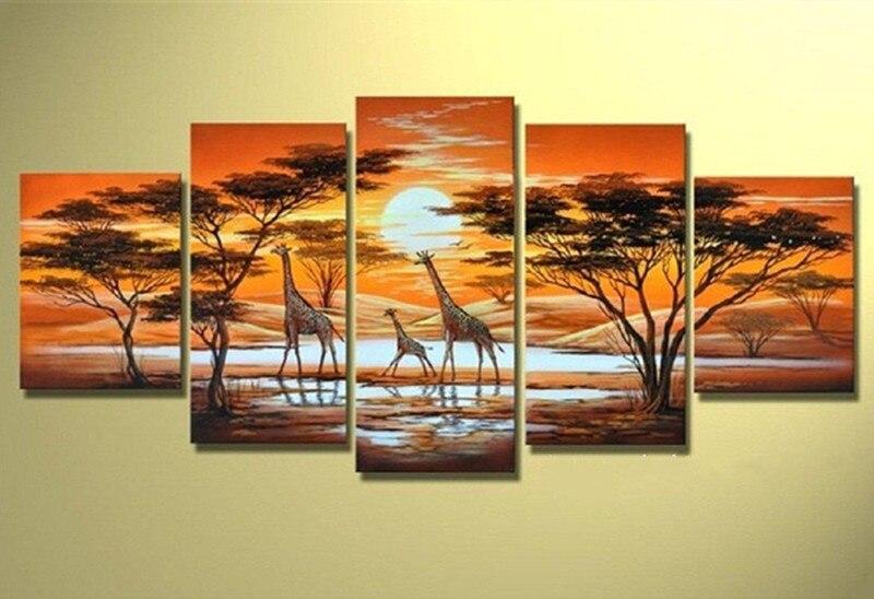 Hand bemalt Abstrakten Ölgemälde Handgemachte Afrikanische Landschaft Giraffe Gemälde Wohnkultur Wand Leinwand Große 5 Panel Bild