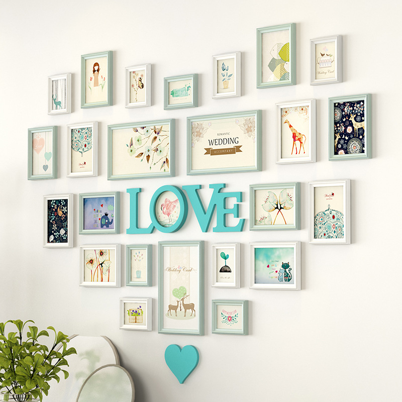 Romantic Heart Shaped Photo Frame Wall Decoration 25pieces