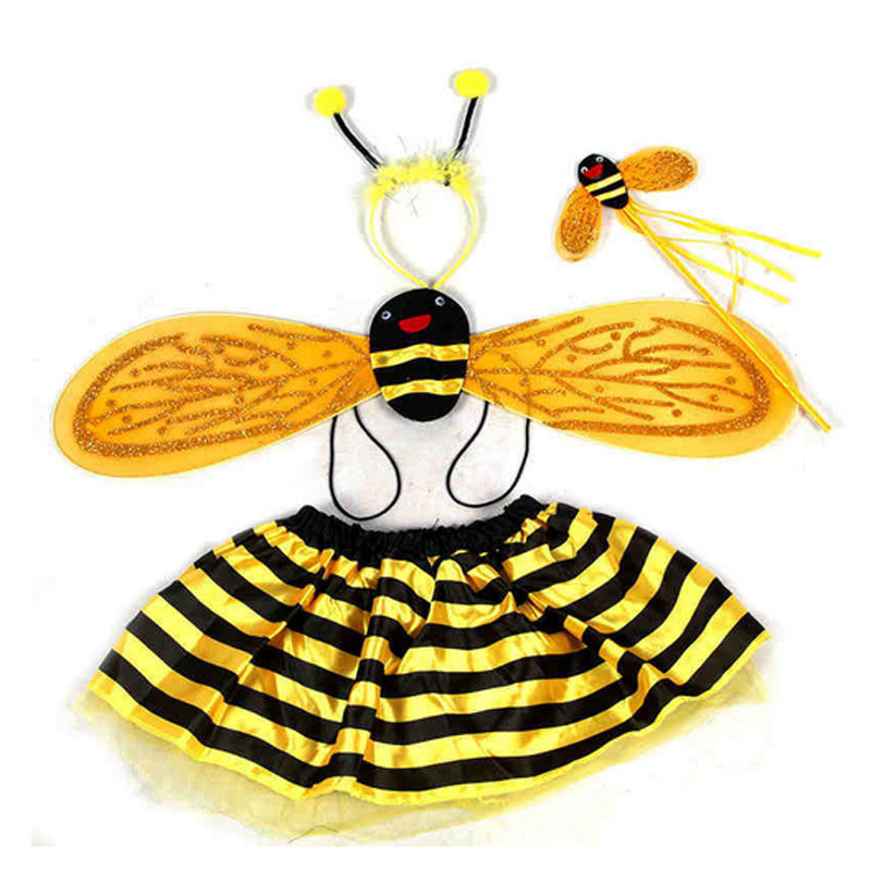 Kids Girls Bee Ladybug Wings Headband Fairy Wand Skirt Theme Party Cosplay Princess Costumes Purim Halloween Christmas