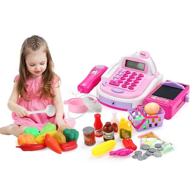 Cash Register Children Pretend Play Toys Supermarket Checkout Counter Role play Early Educational Toys Cute Pattern Design