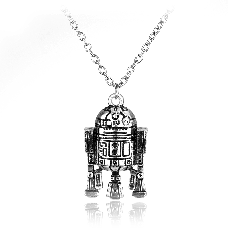 Star wars Necklace Movie around Jewelry Robot R2D2 Pendant necklace Vintage Necklace Link Chain Necklace Colar