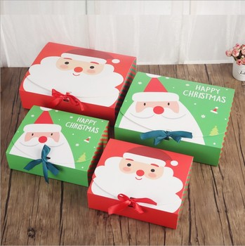 Unique Christmas Eve Big Gift Box Santa & Fairy Design Papercard Kraft Present Party Favour Activity Box red green lin4396