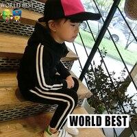 2015 Autunno Vestito di Sport Scherza I Vestiti Delle Ragazze Bambini Bambino In Cotone Con Cappuccio Ragazze Set di Abbigliamento Per Bambini Abbigliamento Produttori Cina