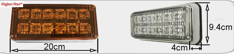 Heldere 12 W Led auto oppervlak montage strobe waarschuwingslichten, ambulance licht, fire emergency lamp, waterdicht, 2 pcs/1 lot - 2