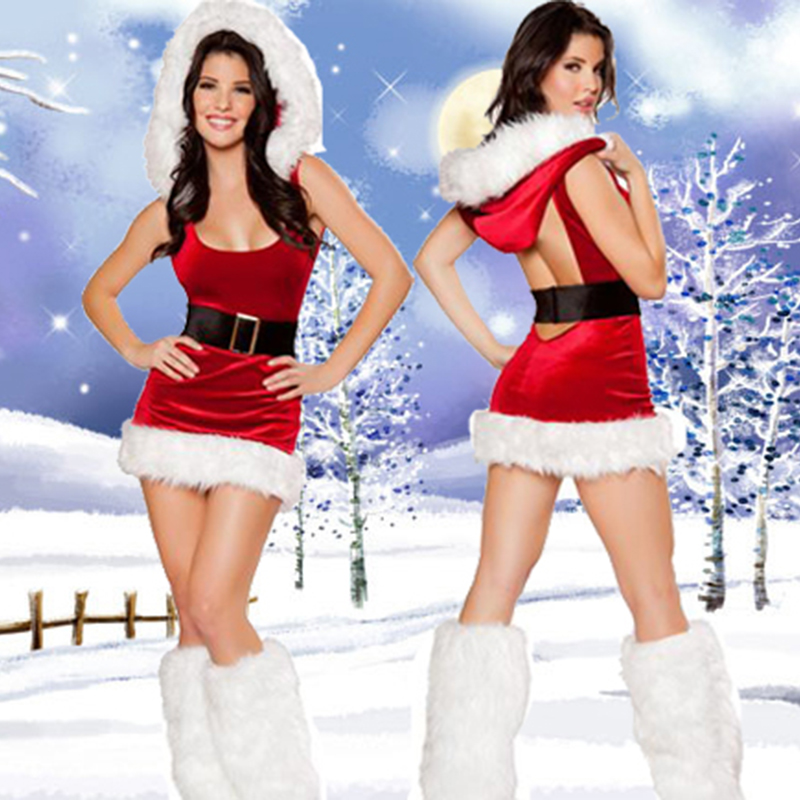 2018 High Quality Sexy Halter Christmas Costumes Red Christmas Costumes Uniforms Temptation Costumes