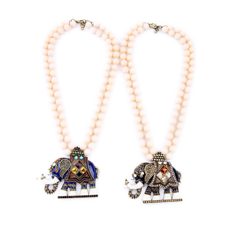 цена на Miraculous Enamel Good Luck Elephant Necklace with Double Faux Cream Pearl Beads Chain Fashion Contemporary Designer Jewelry