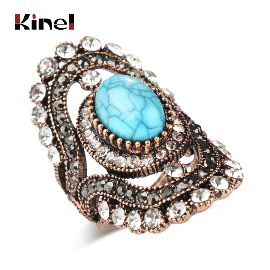 Kinel Luxury Antique Gold Rings For Women Vintage Natural ...