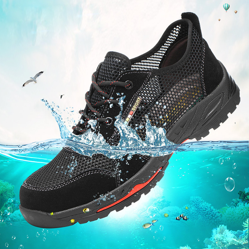 Men Summer Breathable Mesh Safety Shoes Anti-Smashing Puncture Steel Toe Shoes Lightweight Men Work Shoes CasualB Boots Man