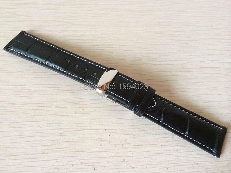 20mm (přezka18mm) T063617 T063639 T063610 Kvalitní stříbrná motýlková přezka + černý kožený náramek na hodinky