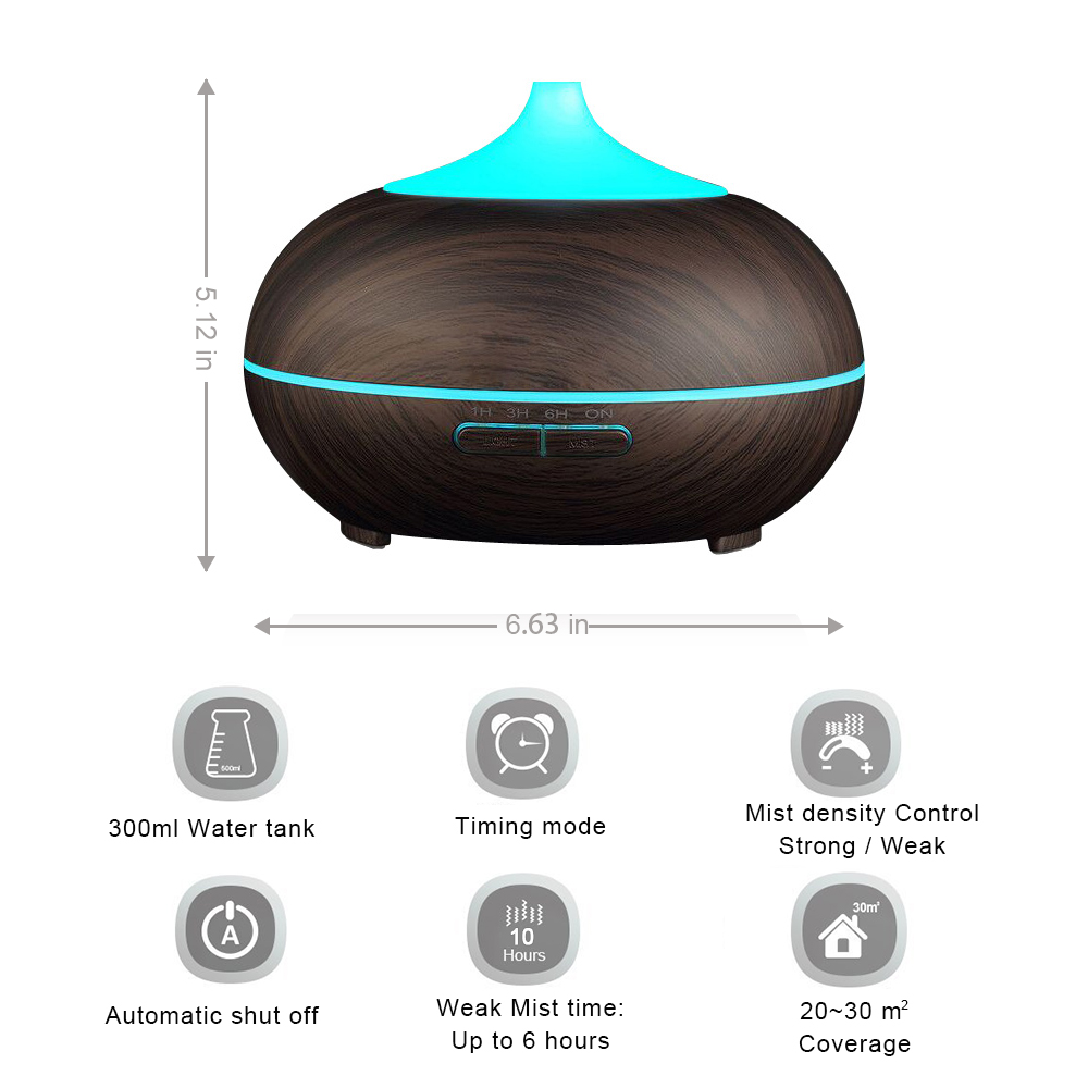 KBAYBO 300ml Aroma Diffuser Aromatherapy Wood Grain Essential Oil Diffuser Ultrasonic Humidifier in Humidifiers from Home Appliances