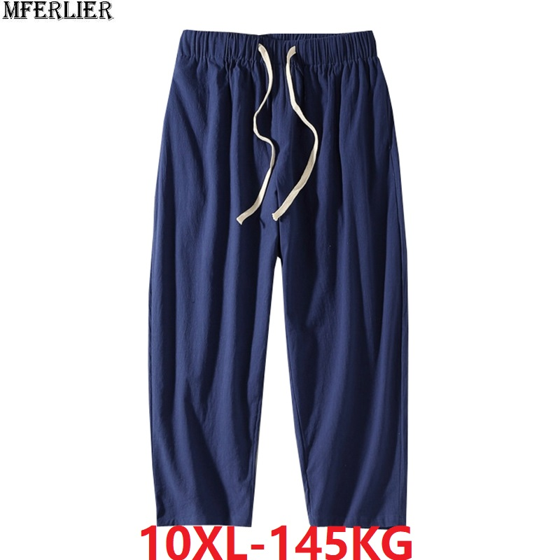 Spring Men Harem Pants Chinese Style Pants Vintage Plus Big Size 7XL 8XL 9XL 10XL Comfortable Man Home Straight Pants Stretch 54