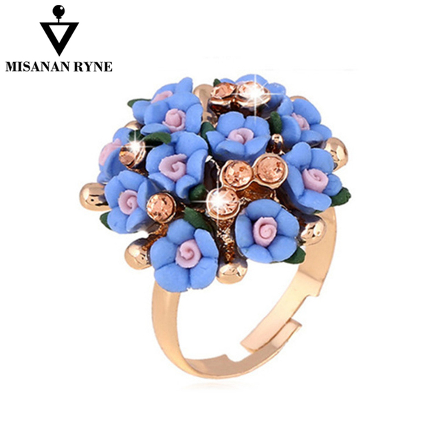 MISANANRYNE Fashion Beautiful Ceramic Flower Ring for Women Adjustable Wedding R