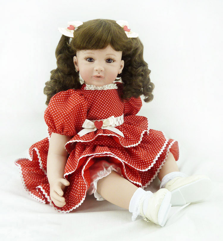 "Pursue 24""/60 cm Beautiful Red Dress Curly Hair Vinyl Silicone Reborn Toddler Princess Girl Doll Toys for Children Girls Gifts"