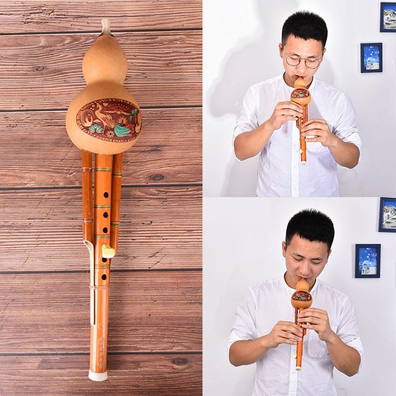 Chinois fait à la main Hulusi bambou gourde Cucurbit flûte ethnique Instrument de musique clé de C pour les mélomanes débutants