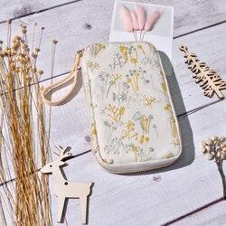 Bolsa de lápiz plana creativa estilo Hobonichi cremallera grande regalo de papelería hecho a mano