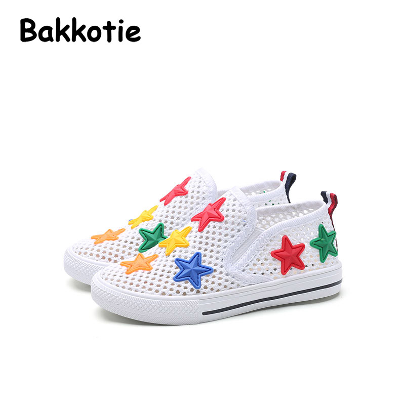 Bakkotie 2017 New Fashion Summer Baby Boy Mesh Casual Shoe Black Child Breathable Slip On Kid Brand Toddler Colored Stars White bakkotie 2017 new autumn baby boy casual shoes khaki genuine leather black kid girl brand flat shoes soft sole breathable child