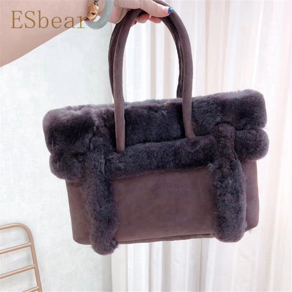 Dropwow Esbear Top Australia Sheepskin Leather Handbags Winter Warm ... eb905fbaa7074